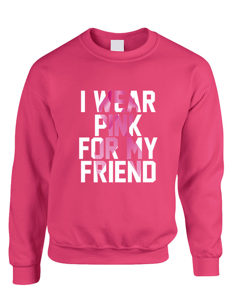 Adult Sweatshirt I Wear Pink For My Friend Support Cancer Top