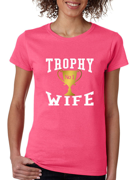 Women's T Shirt Trophy Wife Cool Xmas Love Family Holiday Gift - ALLNTRENDSHOP - 2
