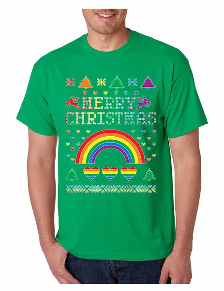 Men's T Shirt Gay Pride Love Merry Christmas Ugly Sweater Gift - ALLNTRENDSHOP - 3