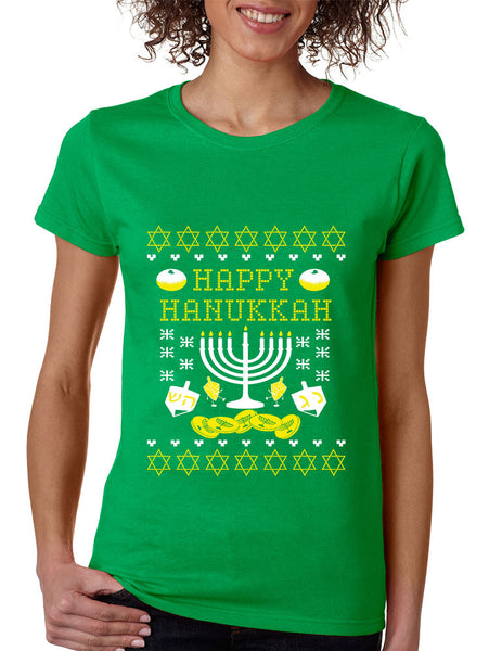 Women's T Shirt Happy Hanukkah Jewish Menorah Tee Shirt - ALLNTRENDSHOP - 3