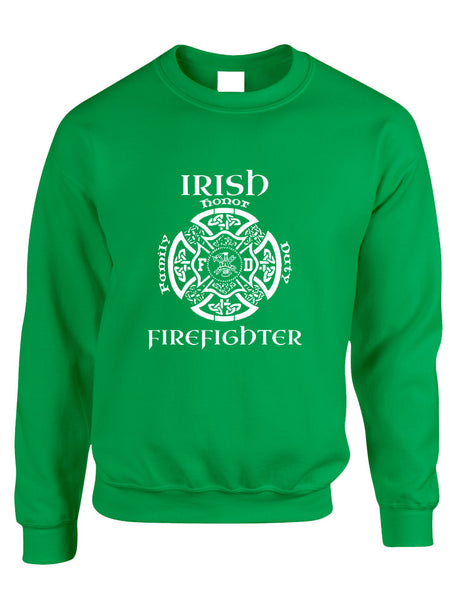 Adult Sweatshirt Irish Firefighter St Patrick's Top Irish Party - ALLNTRENDSHOP - 1