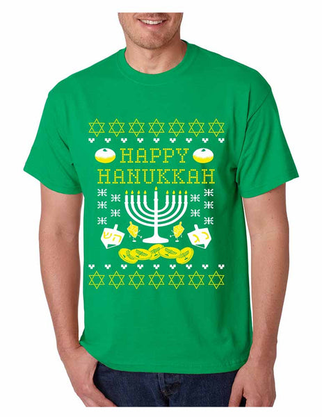 Men's T Shirt Happy Hanukkah Menorah Jewish T Shirt - ALLNTRENDSHOP - 2