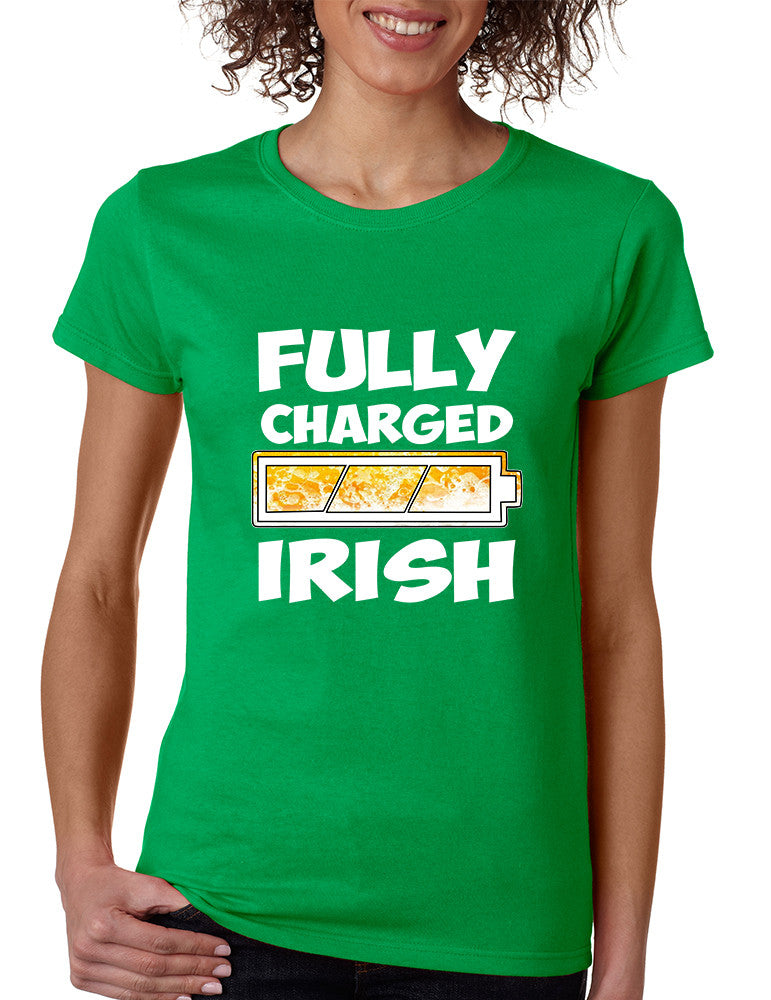 Women's T Shirt Fully Charged Irish St Patrick's Day Tee Fun - ALLNTRENDSHOP - 1