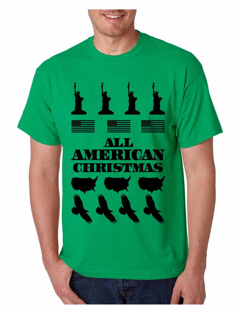Men's T Shirt Merry American Christmas Ugly Sweater Love USA - ALLNTRENDSHOP - 1