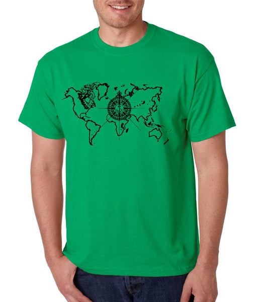 Men's T Shirt World Map Compass Cool Graphic Tee - ALLNTRENDSHOP - 5