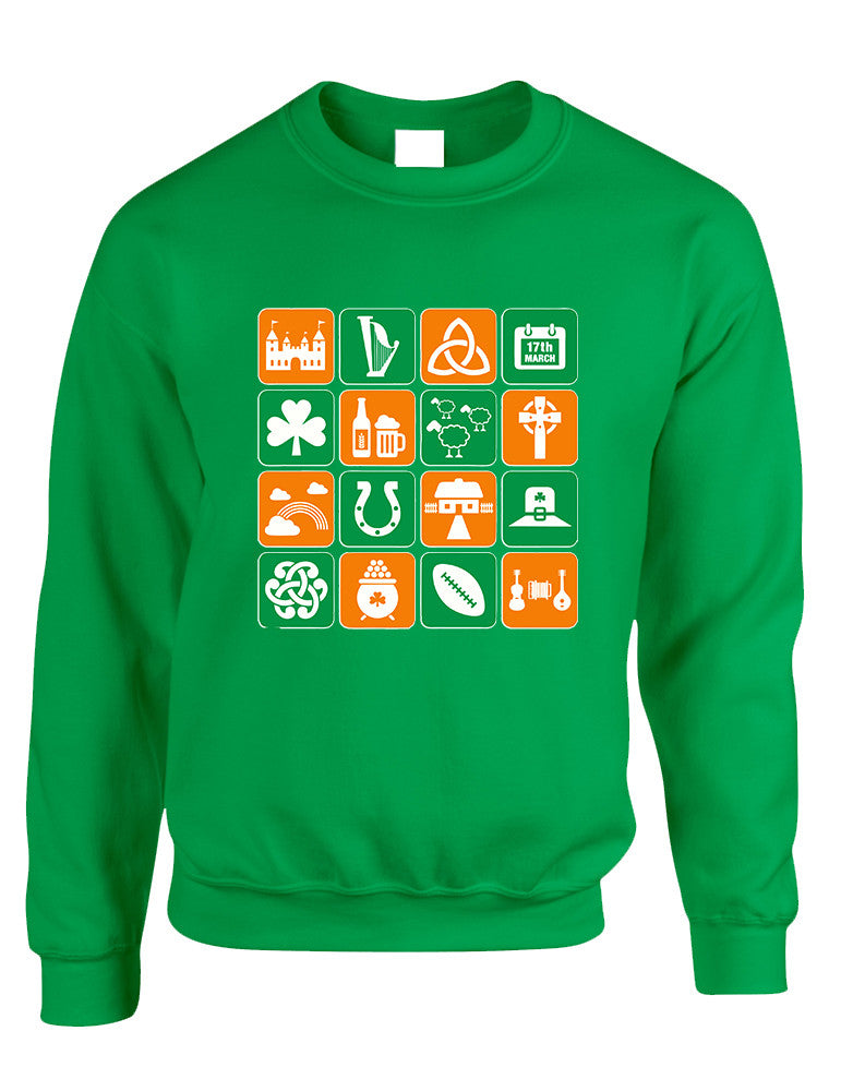 Adult Sweatshirt Irish Icons St Patrick's Day Symbols Top