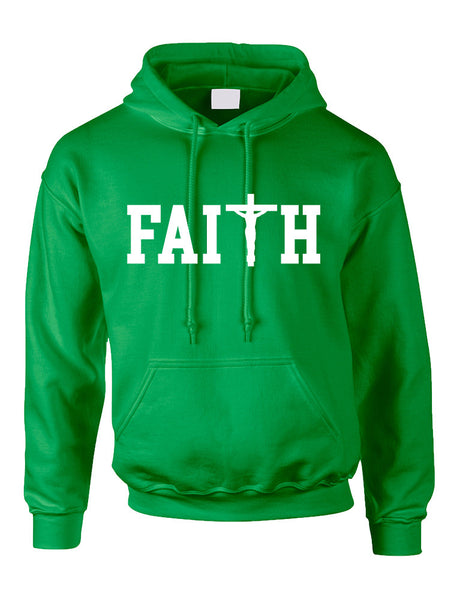 Adult Hoodie Faith Cross Print Believe Christian Top