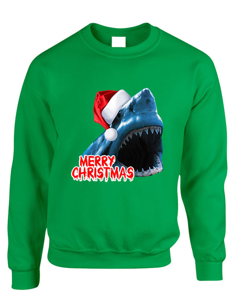 Adult Crewneck Santa Jaws Merry Christmas Ugly Xmas Funny Top - ALLNTRENDSHOP - 1