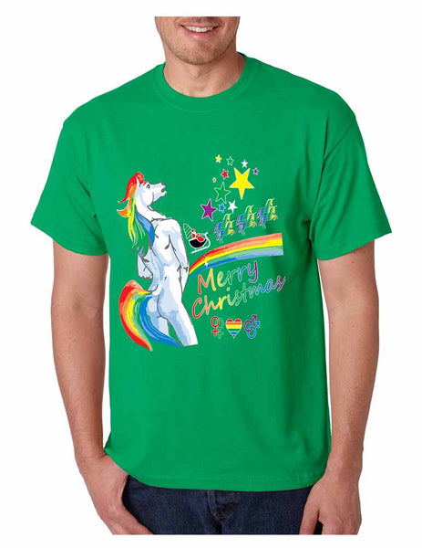 Men's T Shirt Unicorn Rainbow Gay Pride Ugly Christmas Sweater - ALLNTRENDSHOP - 2