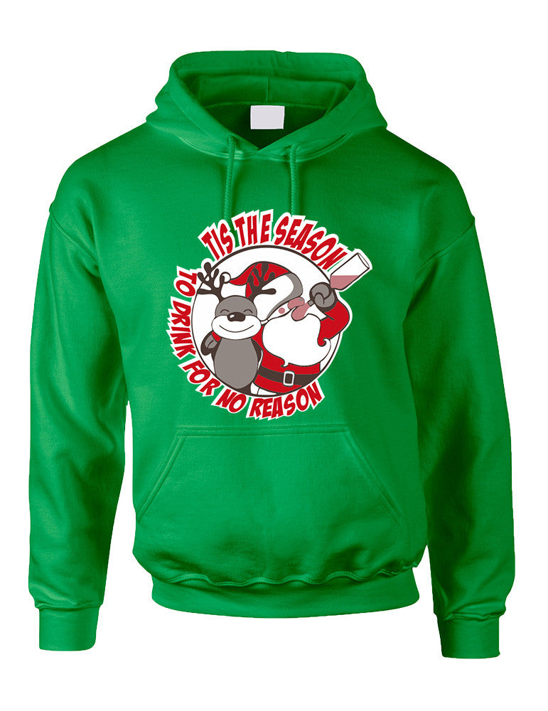 Adult Hoodie Tis The Season Drink No Reason Ugly Sweater - ALLNTRENDSHOP - 1