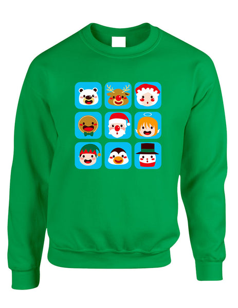 Adult Crewneck Christmas Icons Ugly Xmas Symbols Sweater - ALLNTRENDSHOP - 1