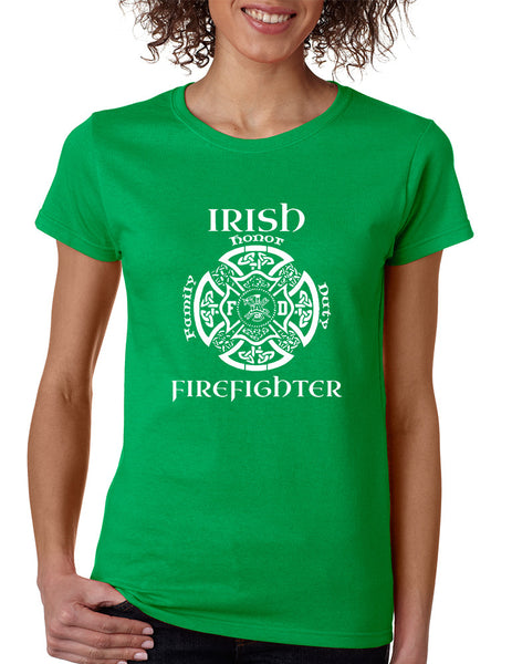 Women's T Shirt Irish Firefighter St Patrick's Shirt Irish Party - ALLNTRENDSHOP - 1