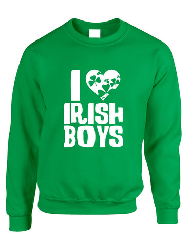 Adult Crewneck I Love Irish Boys St Patrick's Day Party Outfit