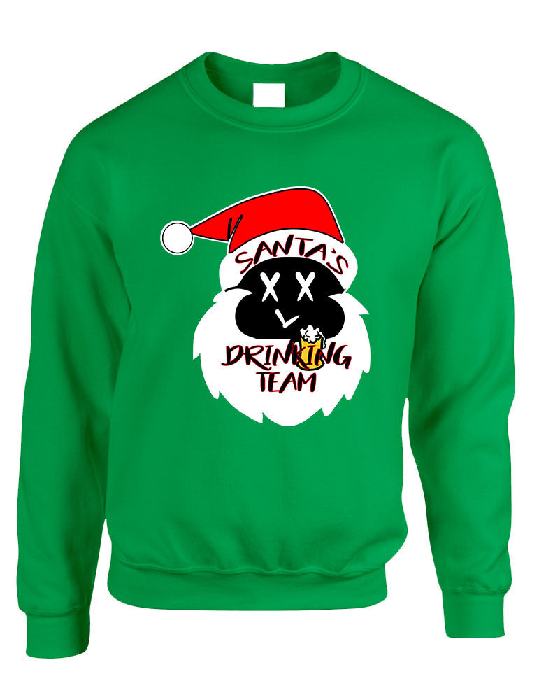 Adult Sweatshirt Santa's Drinking Team Fun Ugly Xmas Sweater - ALLNTRENDSHOP - 1