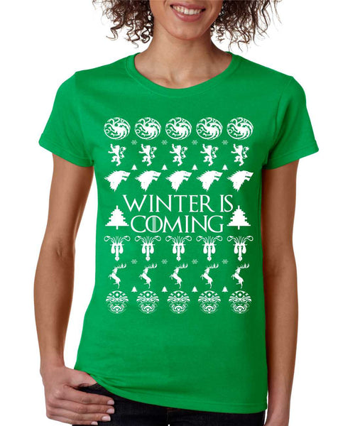 Women's T Shirt Winter Is Coming Ugly Christmas Green Sweater