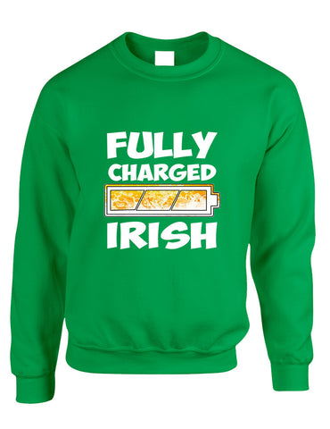 Adult Sweatshirt Fully Charged Irish St Patrick's Day Top - ALLNTRENDSHOP - 1