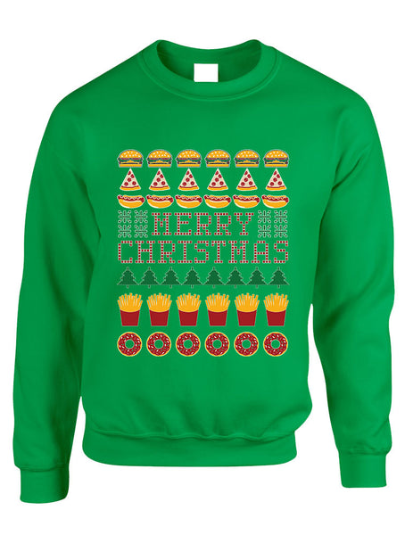 Adult Crewneck Junk Food Merry Christmas Ugly sweater Humor Top - ALLNTRENDSHOP - 2