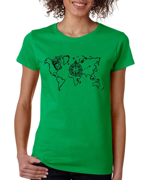 Women's T Shirt World Map Compass Cool Graphic Tee - ALLNTRENDSHOP - 4