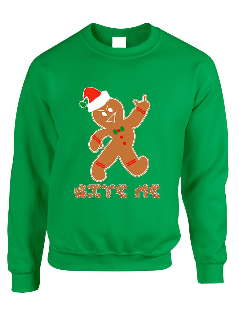 Adult Sweatshirt Bite Me Gingerbread Ugly Christmas Funny Top - ALLNTRENDSHOP - 1