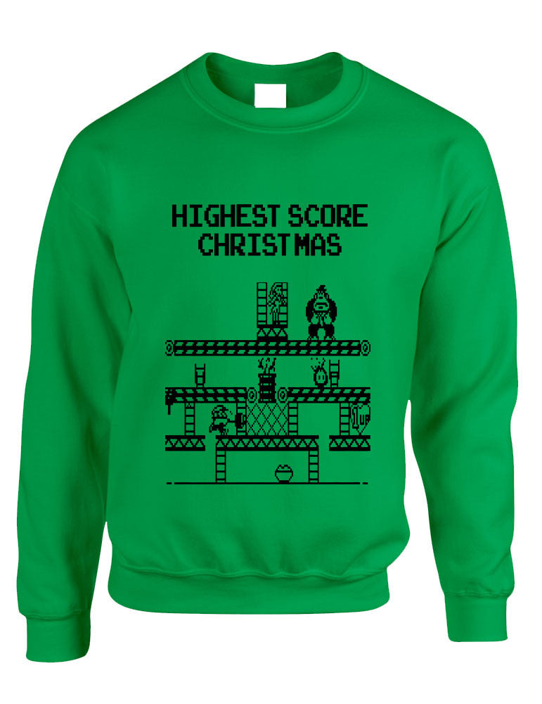 Adult Crewneck Highest Score Christmas Ugly Sweater Holiday Top - ALLNTRENDSHOP - 1