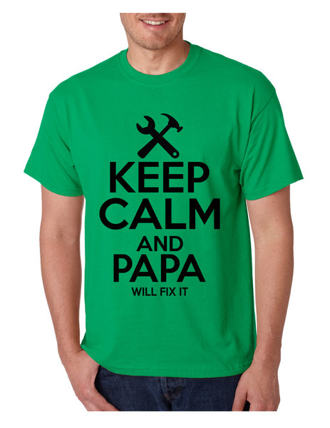 Men's T Shirt Keep Calm And Papa Will Fix It Grandpa Holiday Gift - ALLNTRENDSHOP - 5