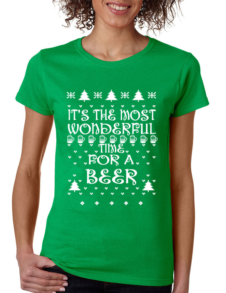 Women's T Shirt It's Most Wonderful Time for Beer Ugly Xmas Shirt - ALLNTRENDSHOP - 1