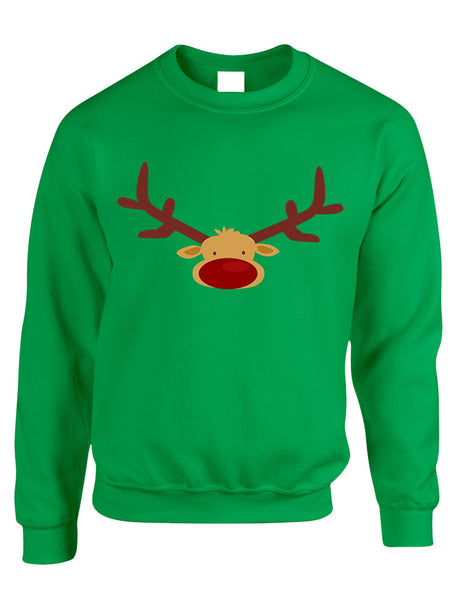 Adult Crewneck Reindeer Face Christmas Gift Cool Xmas Top