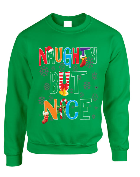 Adult Sweatshirt Naughty But Nice Cute Xmas Shirt Funny Gift