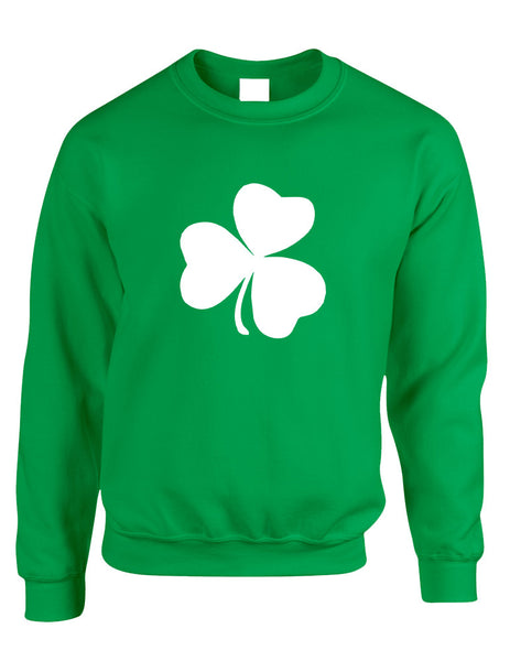 Adult Sweatshirt White Shamrock Graphic St Patrick's Day Cool - ALLNTRENDSHOP - 1