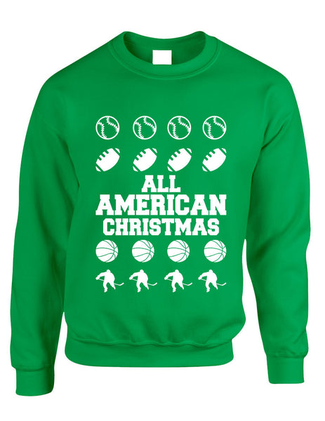Adult Crewneck All American Christmas Love Sport Holiday Top - ALLNTRENDSHOP - 2