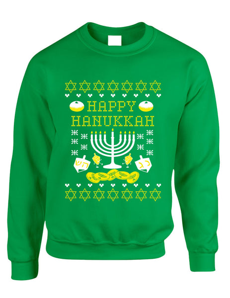 Adult Crewneck Happy Hanukkah Jewish Menorah Ugly Sweater - ALLNTRENDSHOP - 2