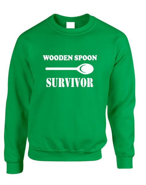Adult Sweatshirt Wooden Spoon Survivor Humor Text Funny Top