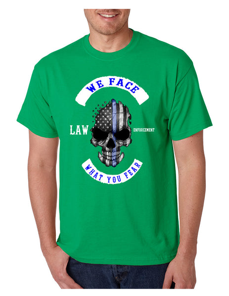 Men's T Shirt We Face What You Fear Amrican Flag Skull