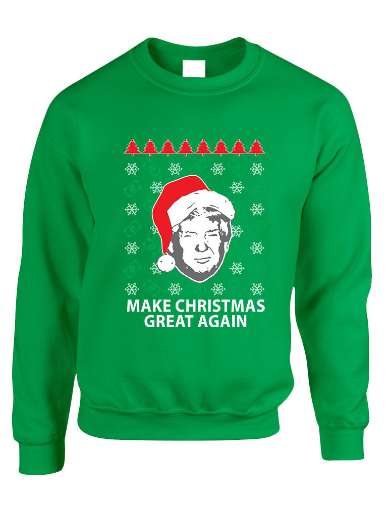 Adult Sweatshirt Donald Trump Make Christmas Great Again Ugly Xmas - ALLNTRENDSHOP - 1