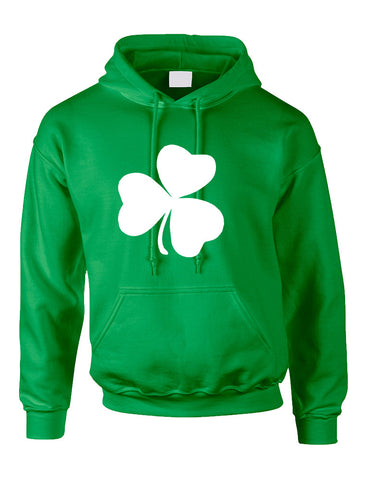 Adult Hoodie White Shamrock Graphic St Patrick's Day Cool Party - ALLNTRENDSHOP - 1