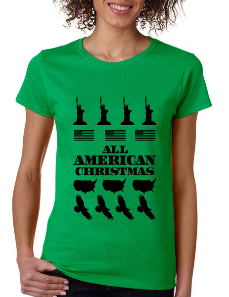 Women's T Shirt Merry American Christmas Ugly Sweater USA Top - ALLNTRENDSHOP - 1