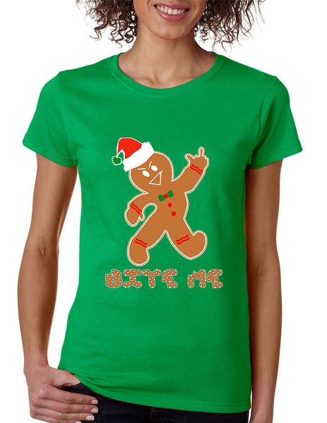 Women's T Shirt Bite Me Gingerbread Ugly Christmas Funny Cool Gift - ALLNTRENDSHOP - 1