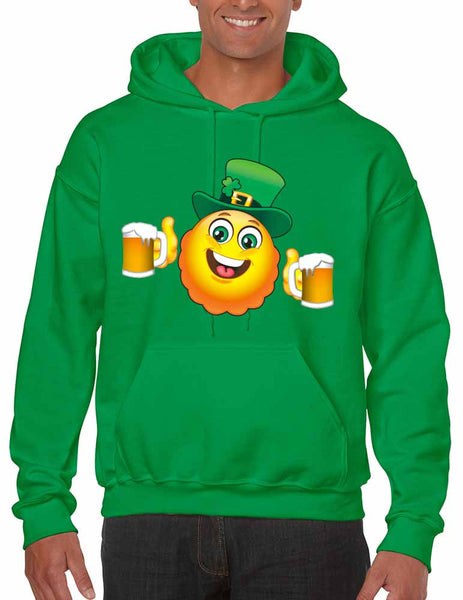 Irish smiling Emoji ST patricks men hooded sweatshirt - ALLNTRENDSHOP - 2
