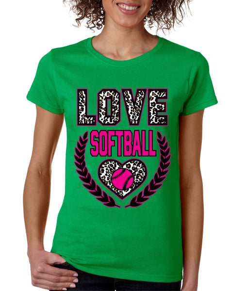 Love Softball Leopard women's T-Shirts - ALLNTRENDSHOP - 4