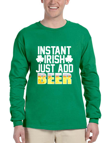 Men's Long Sleeve Instant Irish Add Beer St Patrick's Shirt - ALLNTRENDSHOP - 1