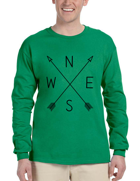 Men's Long Sleeve Compass Arrow Crossed Cool Graphic Top NWSE - ALLNTRENDSHOP - 2