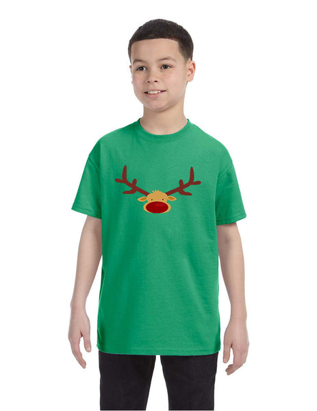 Kids T Shirt Reindeer Face Christmas Shirt Cool Funny Xmas Gift