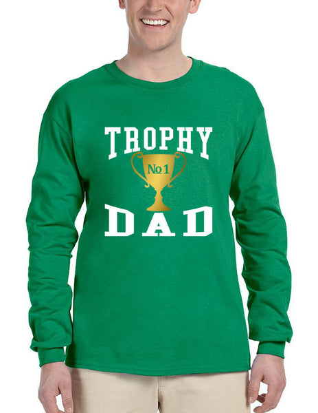 Men's Long Sleeve Shirt Trophy Dad Love Father Daddy Cool Gift - ALLNTRENDSHOP - 3