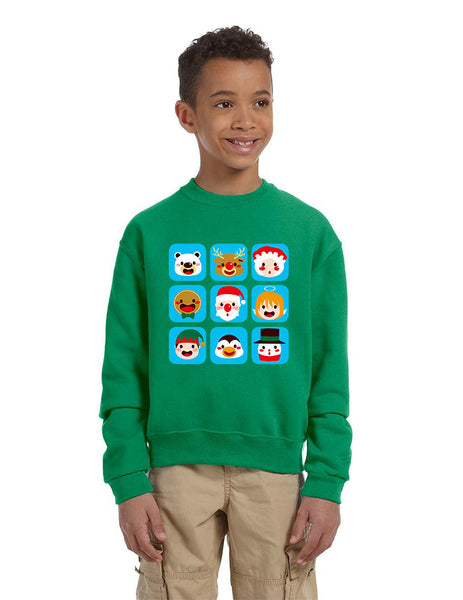 Kids Crewneck Christmas Icons Cute Holiday Symbols Top - ALLNTRENDSHOP - 3