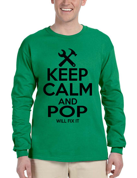 Men's Long Sleeve Keep Calm And Pop Will Fix It Grandpa Holiday Tee - ALLNTRENDSHOP - 2