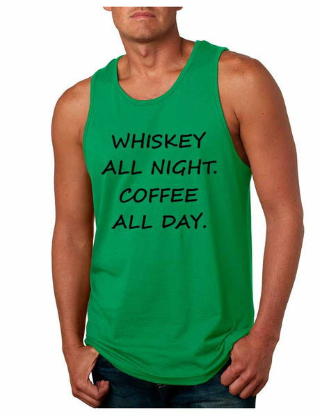 Men's Tank Top Whiskey All Night Coffee All Day Party Funny Top - ALLNTRENDSHOP - 4