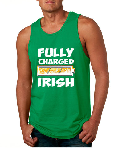 Men's Tank Top Fully Charged Irish St Patrick's Day Funny Top - ALLNTRENDSHOP - 1