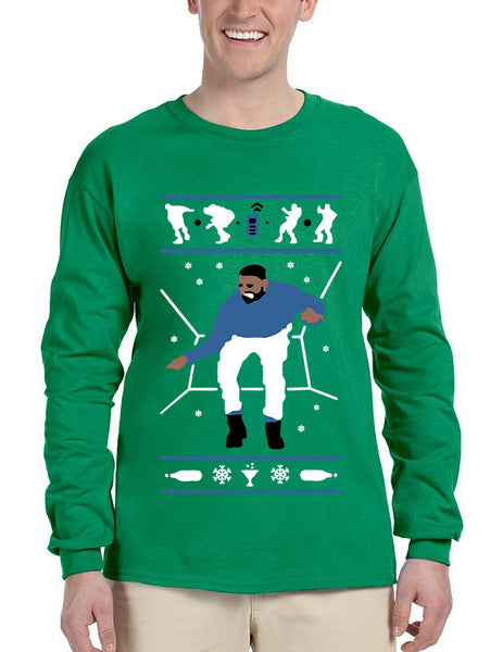 Men's Long Sleeve Hotline Bling Blue 1-800 Hotline Ugly Sweater - ALLNTRENDSHOP - 3