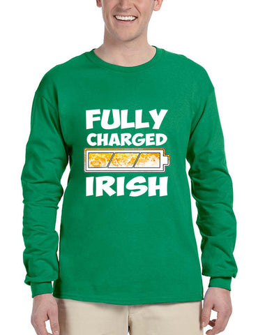 Men's Long Sleeve Fully Charged Irish St Patrick's Day Shirt - ALLNTRENDSHOP - 1