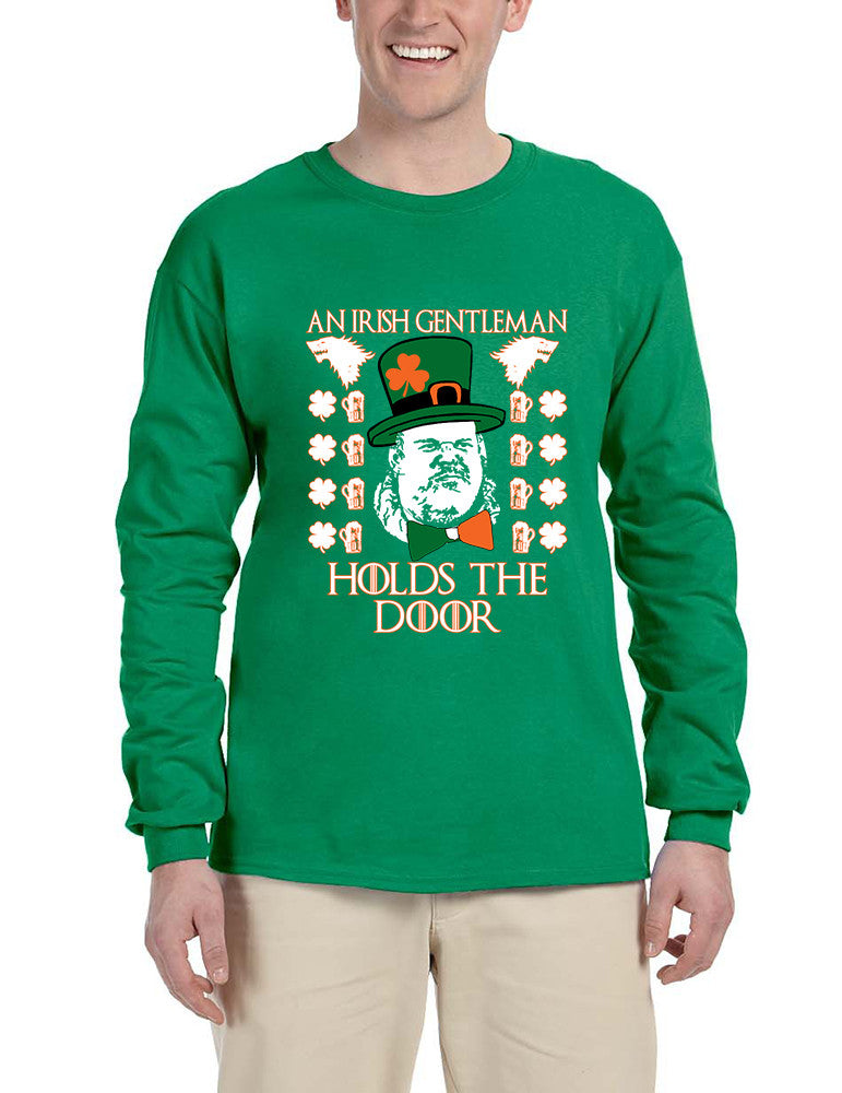 Men's Long Sleeve Irish Hodor Hold The Door St Patrick's Tee